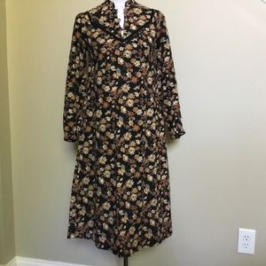 Vintage Floral black brown prairie Midi Dress XS S